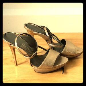 Salvatore Ferragamo gold high-heeled sandals